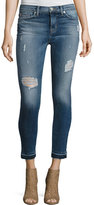 Hudson Nico Mid-Rise Distressed Skinny Ankle Jeans with Released Hem, Indigo