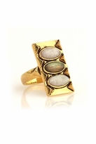House Of Harlow Moonstone and Labadorite Ring in Yellow Gold