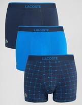 Lacoste Printed Logo Trunks 3 Pack Multi