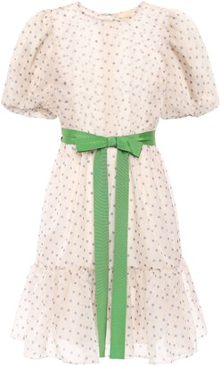By Ti Mo Bytimo Grosgrain-trimmed Polka-dot Organza Mini Dress