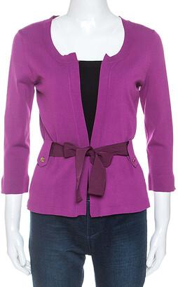 Carolina Herrera Purple Stretch Knit Belted Cardigan XS