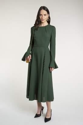 Beulah London Yahvi Olive Green Midi Dress