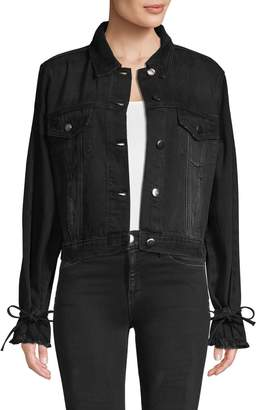 Frame Frayed-Cuff Denim Jacket