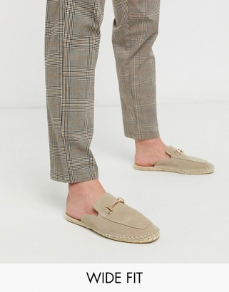 ASOS DESIGN Wide Fit backless mule espadrilles in stone with snaffle