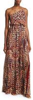 Haute Hippie Silk One-Shoulder Paisley Column Gown, Kennedy