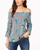 NY Collection Petite Mixed-Print Off-The-Shoulder Top