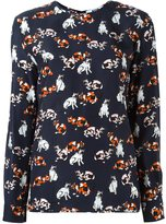 MSGM cat print longsleeved T-shirt - women - Silk/Cotton - 40