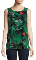 Lord & Taylor Petite Floral Overlay Sleeveless Top