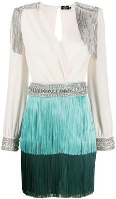 Elisabetta Franchi Crystal-Embellished Fringe Mini-Dress