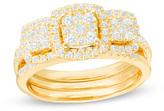Zales 3/4 CT. T.W. Composite Diamond Three Stone Cushion Frame Bridal Set in 10K Gold