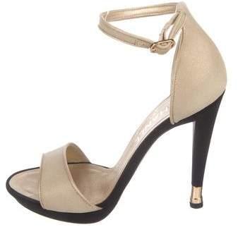 Chanel Canvas Ankle-Strap Sandals