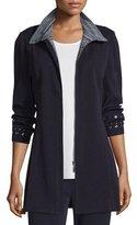 Misook Grommet-Embellished Zip-Front Jacket, Navy/New Ivory, Petite
