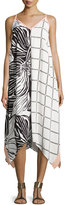 Splendid Printed Handkerchief Midi Dress, Black/White/Pink