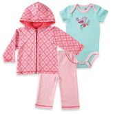 Baby Vision BabyVision® Hudson Baby Size 9-12M Bird Hoodie, Bodysuit, and Pant Set in Pink/Aqua