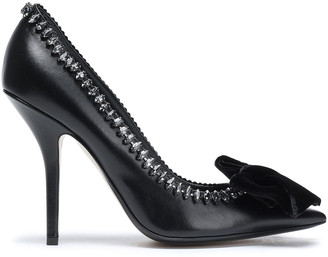 N°21 N21 Bow And Crystal-embellished Leather Pumps