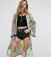 Reclaimed Vintage Inspired Kimono With Tassel Ties