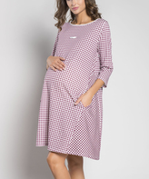 Maroon Check Maternity Nightgown