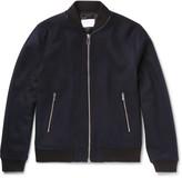 Sandro Leather-Trimmed Wool-Blend Bomber Jacket