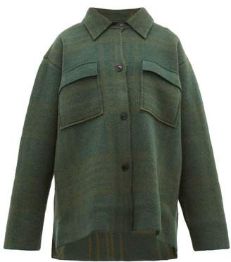 Jacquemus Maille Oversized Checked Wool Shirt Jacket - Womens - Green