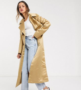 Asos DESIGN Tall strong shoulder trench coat in stone