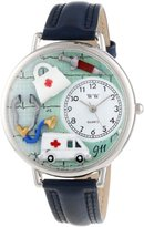 Whimsical Watches EMT Navy Blue Leather and Silvertone Unisex Quartz Watch with White Dial Analogue Display and Multicolour Leather Strap U-0620024