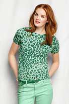 Classic Women's Petite Supima Short Sleeve Sweater-Caspian Blue Leopard
