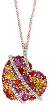 "Effy Multi-Sapphire (2-1/2 ct. t.w.) & Diamond (1/8 ct. t.w.) Heart 18"" Pendant Necklace in 14k Rose Gold"