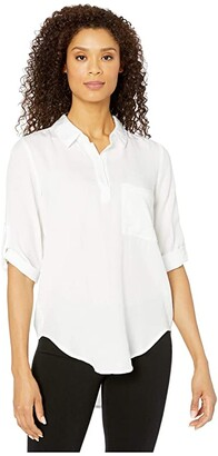 Mod-o-doc Lightweight Tencel Twill Roll Tab Patch Pocket Tunic (White) Women's Clothing