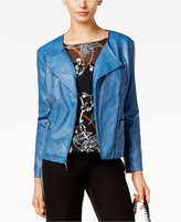 Alfani Petite Faux-Leather Moto Jacket, Only at Macy's