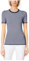 Michael Kors Gingham Stretch-Viscose T-Shirt