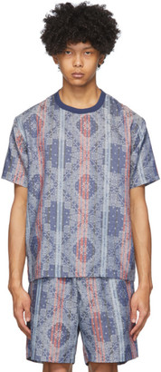 Clot Navy Stripes Paisley T-Shirt