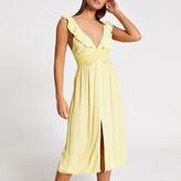 River Island Yellow lace frill plunge midi beach dress
