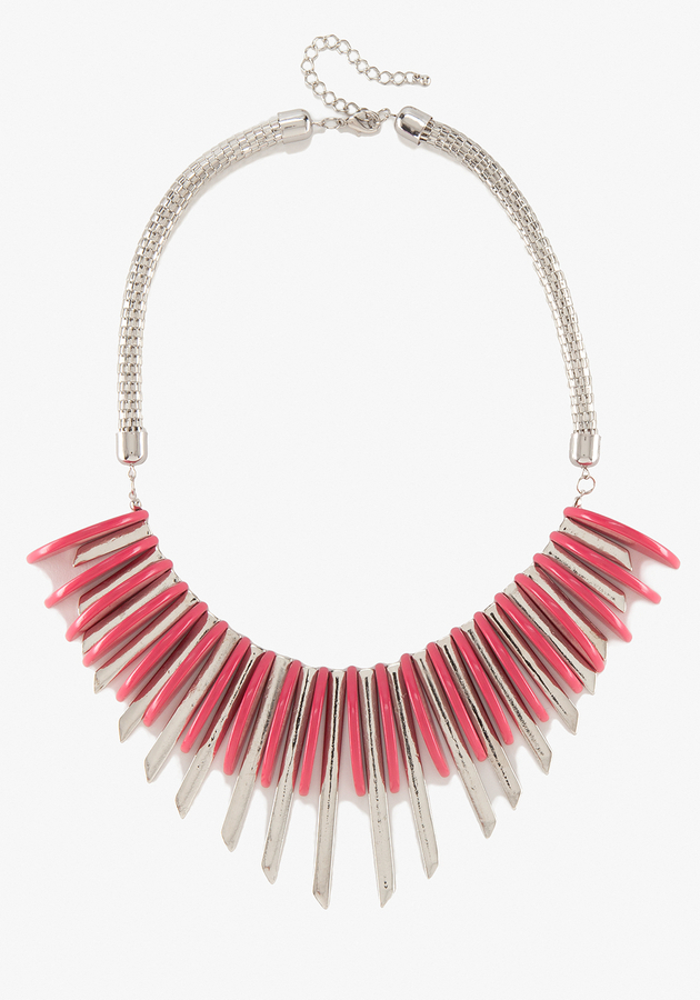 Bebe Metal Geometric Statement Necklace