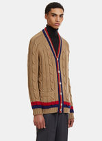 Gucci Cable Knit Cardigan In Camel