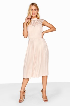 Little Mistress Nude Pleated Midi Dress