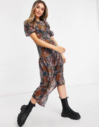 NEVER FULLY DRESSED cap sleeve drop hem midaxi dress in dark floral print