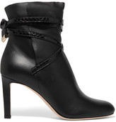 Jimmy Choo Dalal Elaphe-trimmed Leather Ankle Boots - Black