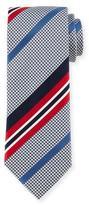 Brioni Satin-Striped Houndstooth Silk Tie, Red