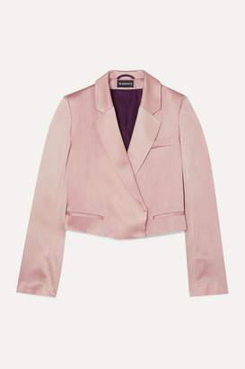 Ann Demeulemeester Cropped Tie-detailed Satin Blazer - Pink