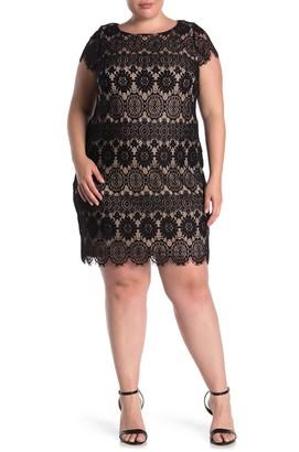 Brinker & Eliza Cap Sleeve Lace Shift Dress (Plus Size)