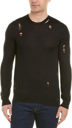 Alexander McQueen Distressed Crewneck Wool & Silk-Blend Sweater