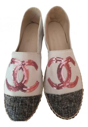 Chanel White Cloth Espadrilles