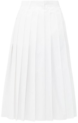 Prada Pleated High-rise Cotton-poplin Midi Skirt - White