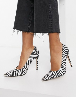 Raid Daryl court shoes with toe plating in zebra