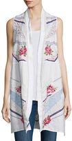 Johnny Was Sabine Long Embroidered Linen Open Vest