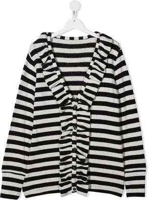 Douuod Kids TEEN ruffled striped cardigan