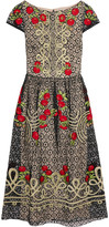 Temperley London Antila Embroidered Cotton-blend Lace Midi Dress - Black