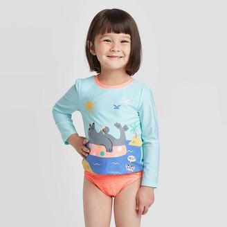 Cat & Jack Toddler Girls' Sea Lion Sun Tan Long Sleeve Rash Guard Set - Cat & JackTM Pleasant Turquoise