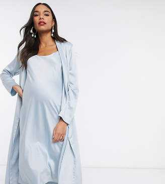 Queen Bee Baby Shower ruched cami midi dress and drape jacket set in blue