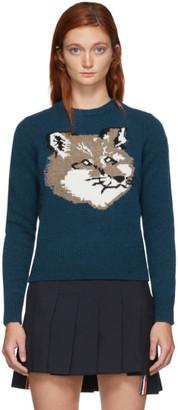 MAISON KITSUNÉ Blue Wool Fox Head Pullover